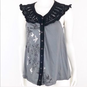 Free People grey sleeveless crochet detail Size S